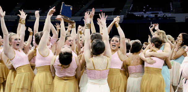 CHS Dance Team holds trophy.
