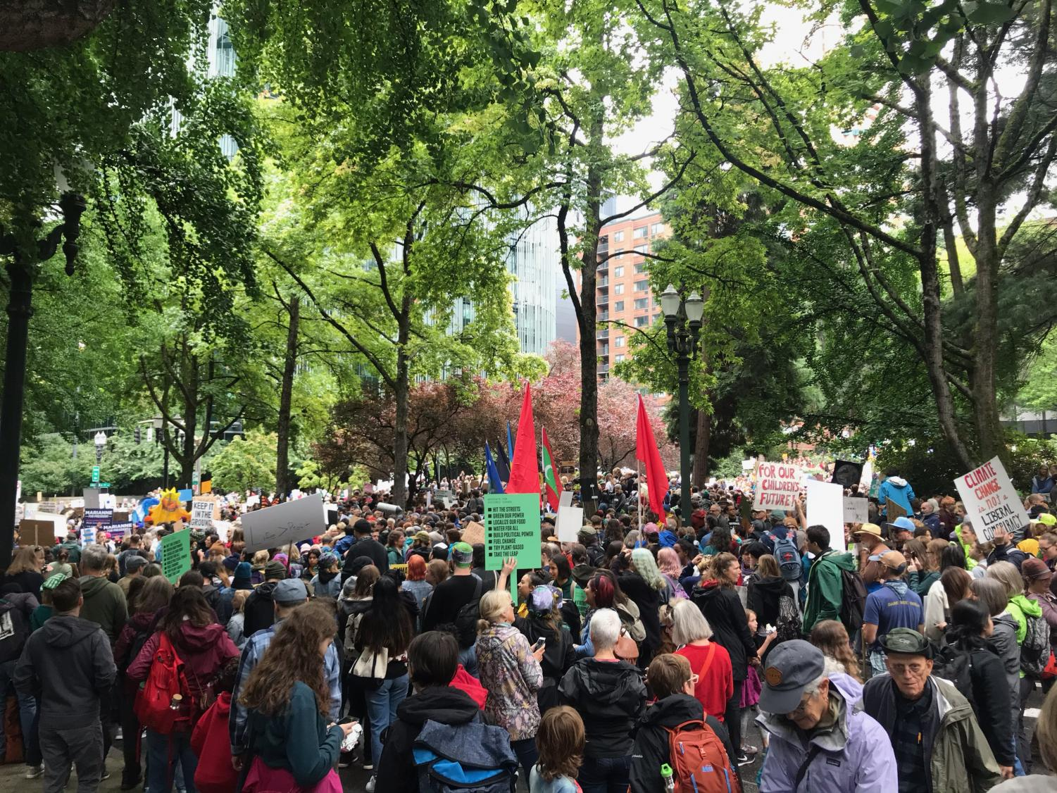 Students converge on downtown Portland